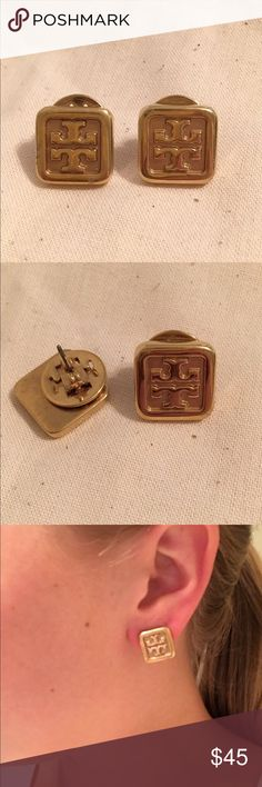 Tory Burch Gold Square Logo Stud Earrings These Tory Burch Gold Square Logo Stud Earrings are the perfect gold studs! They go with everything. They're very light. I've worn them a few times. I bought them for $75. I'm selling them for $45. kate spade Jewelry Earrings