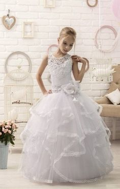 d1f39ca4beb Lace Long Sleeved First Communion Dress for Communion Day. Lace long  sleeved First Communion dress for her special Holy day. This stunning girls  dress has ...