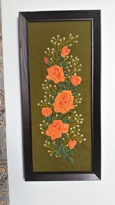 FOR SALE: Vintage Green and Pink Floral Embroidery Framed Wall Decor by SoDarnedVintage on Etsy   #embroidery #crewel #needlework #vintageembroidery #bohostyle #bohodecor #floraldecor #wallart #sodarnedvintage #etsy