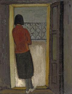 Mädchen am Balkon 1934 18th Century, Museum, Gallery, Artwork, Doorway, German, Portraits, Paintings, Art