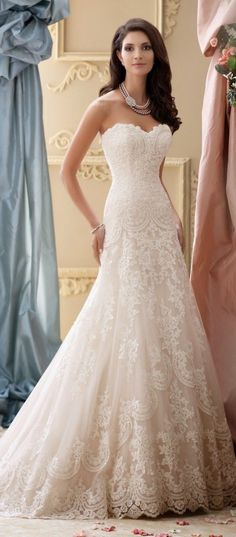 Strapless lace long wedding dress 2016