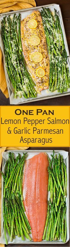 One Pan Roasted Lemon Pepper Salmon and Garlic Parmesan Asparagus - This is so e., Pan Roasted Lemon Pepper Salmon and Garlic Parmesan Asparagus - This is so easy to make and the flavor combo of the two is delicious! Fish Dishes, Seafood Dishes, Seafood Recipes, New Recipes, Cooking Recipes, Favorite Recipes, Healthy Recipes, Recipes Dinner, Salmon Dishes