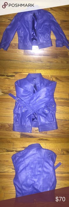 Leather jacket Beautiful royal leather great condition quarter sleeve bebe Jackets & Coats