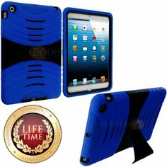 Amazon.com: myLife (TM) Royal Blue + Black Shockproof Survivor (With Built In Kickstand) Durable Ridge Case for Apple iPad Mini Touch Tablet...