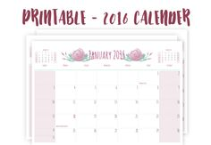2016 Printable Calender, Monthly Calender, Printable Floral Calender, 8.5 x 11 Printable Calender, Pink, Calender With Holidays. by PrintableHaven on Etsy https://www.etsy.com/listing/254234181/2016-printable-calender-monthly-calender #Printable #Calenders #2016 #2016Calenders