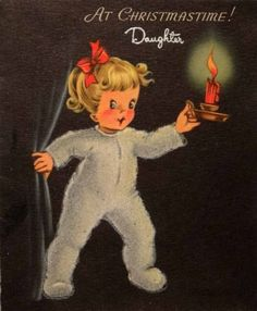 1007-50s-Little-Girl-in-Flocked-Jammies-Vintage-Christmas-Card-Greeting