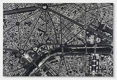 Damien Hirst new paintings, 'Black Scalpel Cityscapes' are made up of surgical instruments that combine to create bird's-eye views of urbanized areas from around the world
