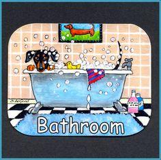 Dachshund Dog Painting Bathroom Sign by Suzanne Le Good | eBay