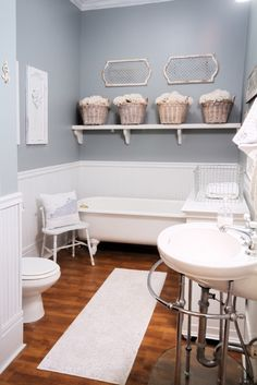 Love this color for the bathroom