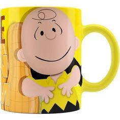 Caneca Snoopy Chocolate com Amendoim Charlie Alça Amarela