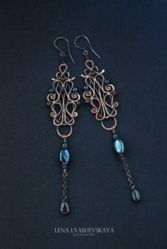 """Earrings """"RAVEN WING"""" Black pearl, garnet, pressing pearls, tourmaline, copper"""