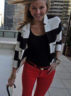 Red jeans, black top, stripe blazer