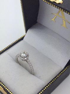 Halo Moissanite Engagement Ring Diamond Accents 14K White Gold 1.00ct-Allurez.com