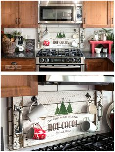 Christmas tray turned hot cocoa station sign for Christmas kitchen decorating using Funky Junk's Old Sign Stencils / funkyjunkinteriors.net