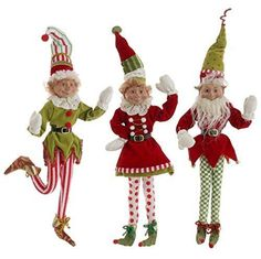"RAZ Imports 21"" Posable Elf Set of 3 ""Snow Biz"" Christmas Collection 3202686"