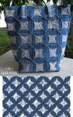 Denim and Lace: Cathedral Window Quilt for Bag or Blanket
