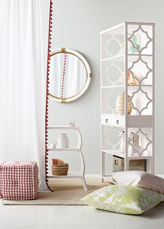 I would love the bed side table in my 2yo son's new regatta/boat themed room and the mirror would be perfect too! Planning on using a light grey wall with white and aqua bedding with touches of grey and navy to keep it classic! Nursery must-haves. #serenaandlilystyle