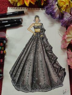 Dress Design Drawing, Dress Design Sketches, Fashion Design Drawings, Dress Illustration, Fashion Illustration Dresses, Fashion Designing Course, Bridal Chuda, Designer Bridal Lehenga, Sleeves Designs For Dresses