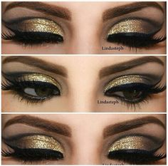 Gold eye makeup! We're loving this look! #salonsuccess #makeup