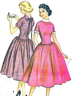 1950s Dress Pattern McCalls 4327 Full Skirt Day or Evening Drop Waist Dress with Reverse Collar Womens Vintage Sewing Pattern Bust 32 on Etsy, $20.00