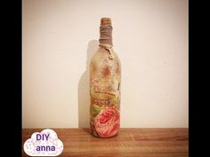 vintage decoupage bottle - shabby chic - YouTube