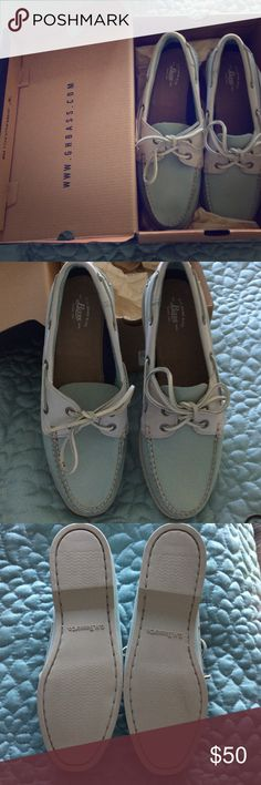 Bass Women's Boat Shoes Size 9 Brand New in Box - Bass Women's Boat shoes Style is Cast off Perf. , color is Blue Haze Size 9.  All genuine leather upper.  Great with jeans and casual wear! Bass Shoes Flats & Loafers
