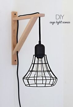 Diy Cage Light Sconce A Clever Idea Using The Threshold Industrial Plug-In Pendant And An Ikea Ekby Valter Bracket. Instructions to From Nalle's House. Living Room Lighting, Bedroom Lighting, Sconce Lighting, Ikea Lighting, Light Bedroom, Shelves Lighting, Bedside Lighting, Track Lighting, Ikea Hacks