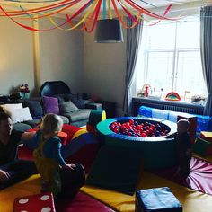 We setup softplay in the living room for all the children. The multi colours and streamers worked really well together Soft Play, Better Together, Streamers, Party Themes, Colours, Living Room, Children, Kids, Sitting Rooms