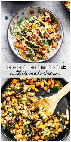 Blackened Chicken Brown Rice Bowls with Avocado CreamYou can find Bowls recipe and more on our website.Blackened Chicken Brown Rice Bowls with Avocado Cream Clean Eating, Healthy Eating, Healthy Dinner Recipes, Cooking Recipes, Cooking Rice, Zone Recipes, Cooking Cream, Cooking Beets, Cooking Bacon