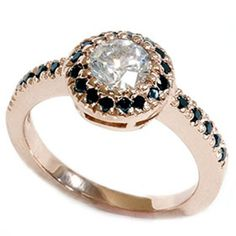 I must have it! It will be mine...Oh, yes; it will be mine.      Black & White Diamond 93CT Engagement Ring 14K Rose by Pompeii3, $695.00