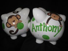 piggy bank hand painted personalized new by andrewandelladesigns, $29.50