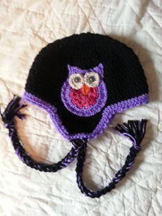 Owl Earflap Hat  black purple and pink by FreaksInYarn on Etsy, $25.00 #MMMakers