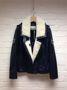 colonel #black #leather #shearling lined #jacket