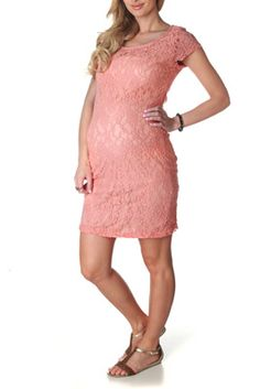 Coral Textured Lace Maternity Dress. Love pretty much everything on this site!