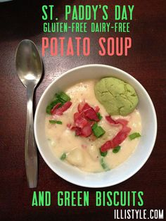 St Paddys Day Potato Soup and Green Biscuits - illistyle.com