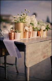 painted soup cans for wedding centerpiece instead of vases