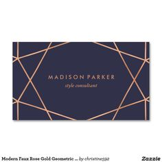 Modern Faux Rose Gold Geometric on Midnight Blue Business Card