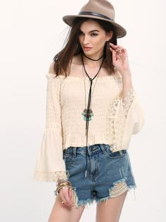 Shop Apricot Off The Shoulder Bell Sleeve Blouse online. SheIn offers Apricot Off The Shoulder Bell Sleeve Blouse & more to fit your fashionable needs.