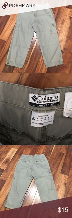 Columbia capris Great condition. No tears or stains. Color is like khaki and olive green Columbia Pants Capris