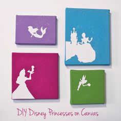 1. Cut out the Silhouettes of the princesses.  2. Paint Canvas  3. Attach with Glue  4. Add Glitter  5. Hang and Enjoy