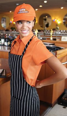 """Orchard ORANGE Cool Vent Ladies Server Shirt from ChefsEmporium.net.  We call it the new """"Smart Casual"""" dress shirt."""