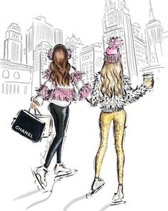 Best friend illustration by fashion illustrator Samantha E. Forsyth. Shop prints and follow on Instagram @samanthaeforsyth #christmas #Fashionillustrations |Be Inspirational ❥|Mz. Manerz: Being well dressed is a beautiful form of confidence, happiness & politeness