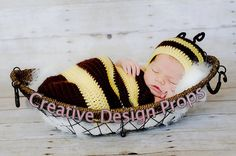 Cocoon and Hat - Bumble Bee costume set - newborn outfit - photo prop or gift for baby shower. $30.00, via Etsy.