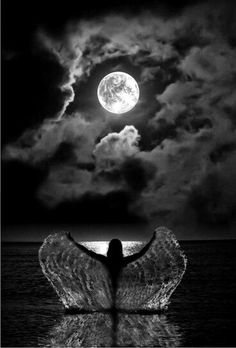 Woman swimming in water under the full moon with the sea water dripping down her arms in a splash like angel wings. Gorgeous black and white photography. Please also visit www.JustForYouPropheticArt.com for colorful inspirational art. Thank you so much! Blessings!