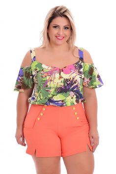 Ciganinha plus tropical - vk moda plus size blusas летняя мо Looks Plus Size, Curvy Plus Size, Plus Size Women, Curvy Fashion, Plus Size Fashion, Plus Size Dresses, Plus Size Outfits, Streetwear, Modelos Plus Size