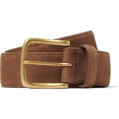 Anderson Sheppard 3.5cm Brown Nubuck Belt (900 BRL) ❤ liked on Polyvore featuring men's fashion, men's accessories, men's belts and mens light brown belt
