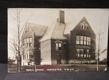 North School Lancaster Wis 1917 LL Cook B&W Real Photo Postcard