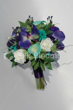 lillies orchids boquet | Jade Green & Purple Bridal Bouquet w/ Orchids and Picasso Lilies Jade ...