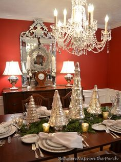 Beautiful tablescape with mercury glass trees