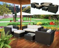 5 Piece Modern Outdoor Wicker Resin Patio Set in Espresso and White Outdoor Sofa Sets, Outdoor Living, Outdoor Decor, Outdoor Sectional, Outdoor Spaces, Outdoor Topiary, Outdoor Seating, Resin Patio Furniture, Modern Outdoor Furniture
